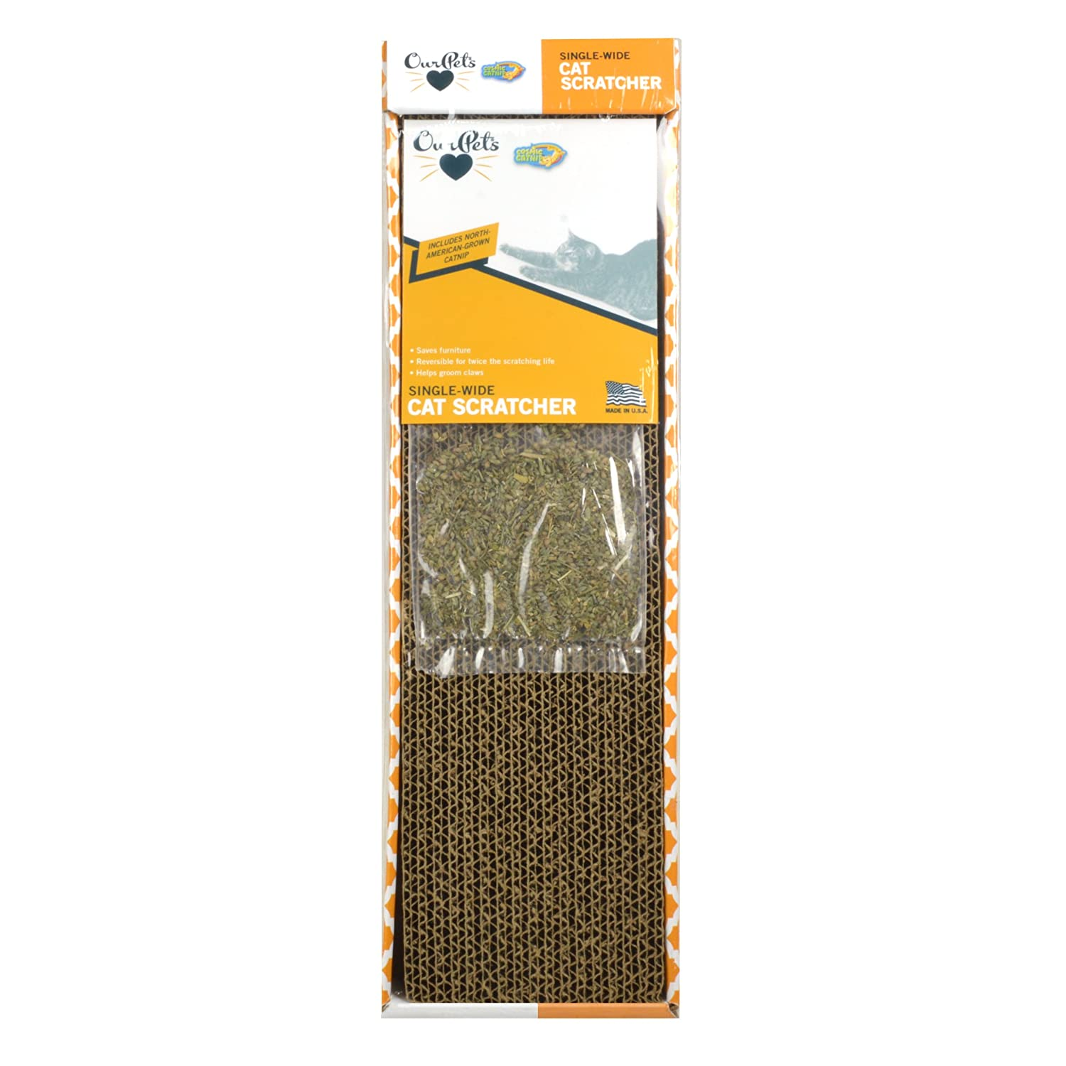 OurPets Straight and Narrow Single Wide Reversible Cat Scratcher