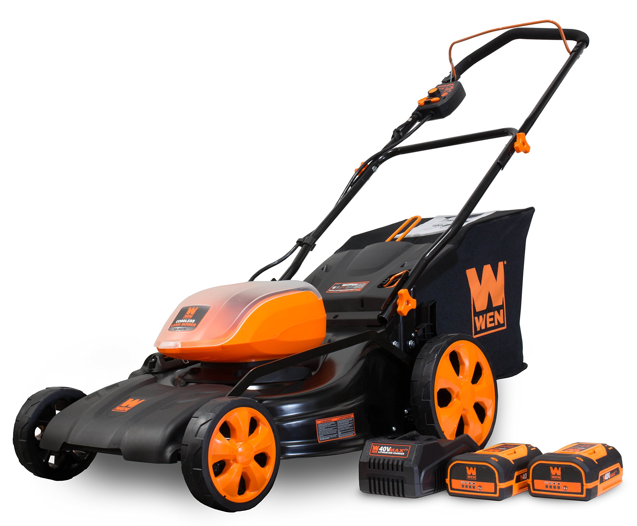WEN 40439 40V Max Lithium Ion 19-Inch Cordless 3-in-1 Electric Lawn Mower with Two Batteries, 16-Gallon Bag and Charger 1 Includes one 4 amp-hour battery, one 2 amp-hour battery, one 16-gallon bag, one charger, and a two-year warranty Versatile 19-inch steel deck allows users to mulch, bag or use the side discharge door Adjust the cutting height between six different stops ranging from 1.5 to 4 inches