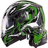 VIPER Modular Dual Visor Motorcycle / Snowmobile Helmet DOT Approved (IV2 Model #953) - Green (S)