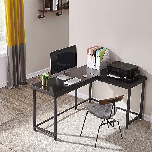 Nero 112 76 cm Symylife Scrivania da Gioco Scrivania ad Angolo Scrivania a Forma di L Postazione da Studio per Computer Portatile di Grandi Dimensioni per Ufficio in casa 147