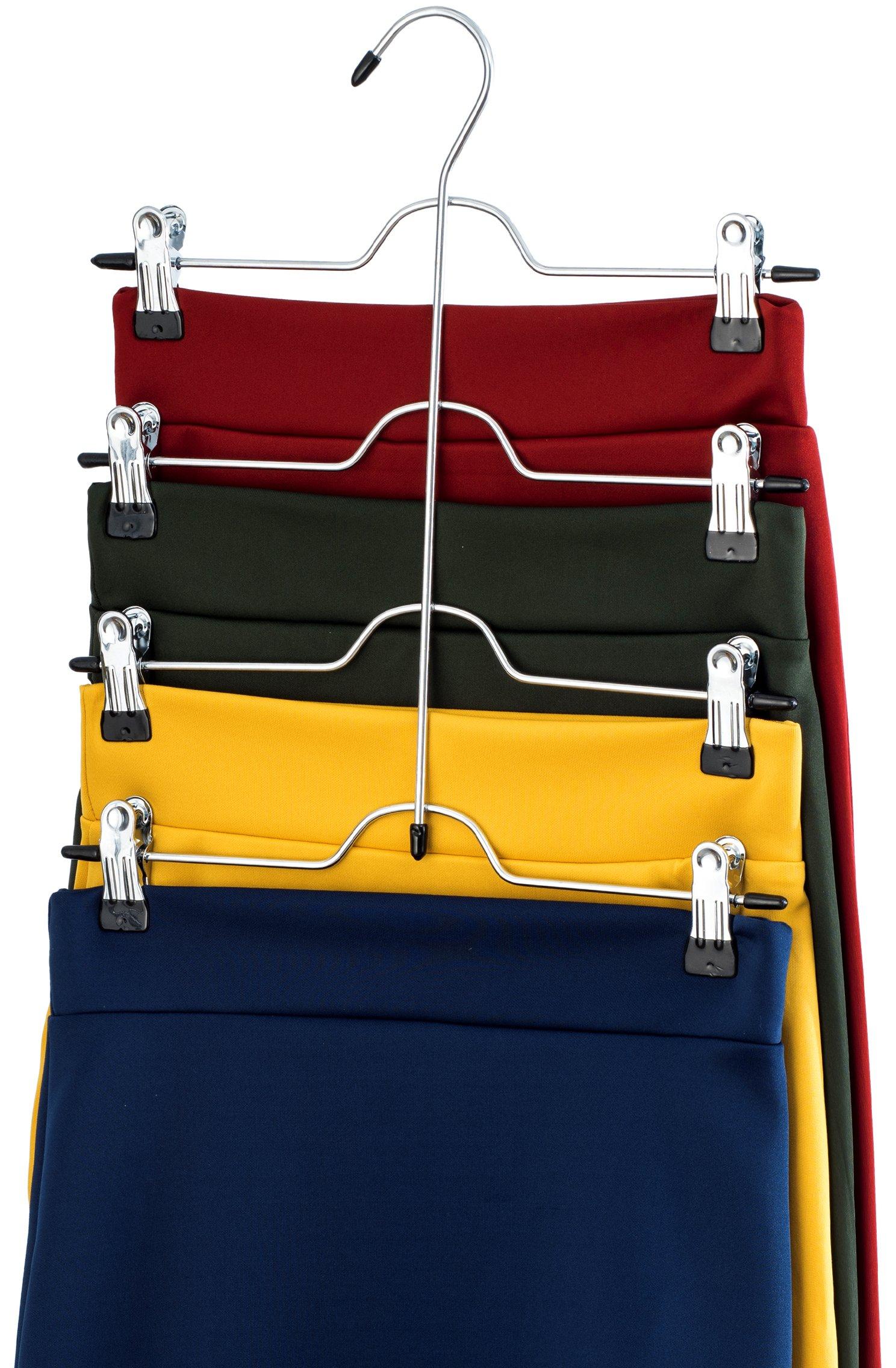 ZOBER Space Saving 4 Tier Trouser Skirt Hanger (Set of 3) Sturdy Luxurious Chrome with Non Slip Black Vinyl Clips, Multi Pants Hanger for Skirts, Pants, Slacks, Jeans, and More.