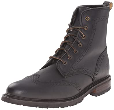 FRYE Men's James Lug Wingtip Boot, Black, ...