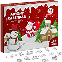 2020 Advent Calendar Christmas Countdown Decoration - 24pcs Metal Wire Puzzle Toys Gift Box Set Brain Teaser Toy for…
