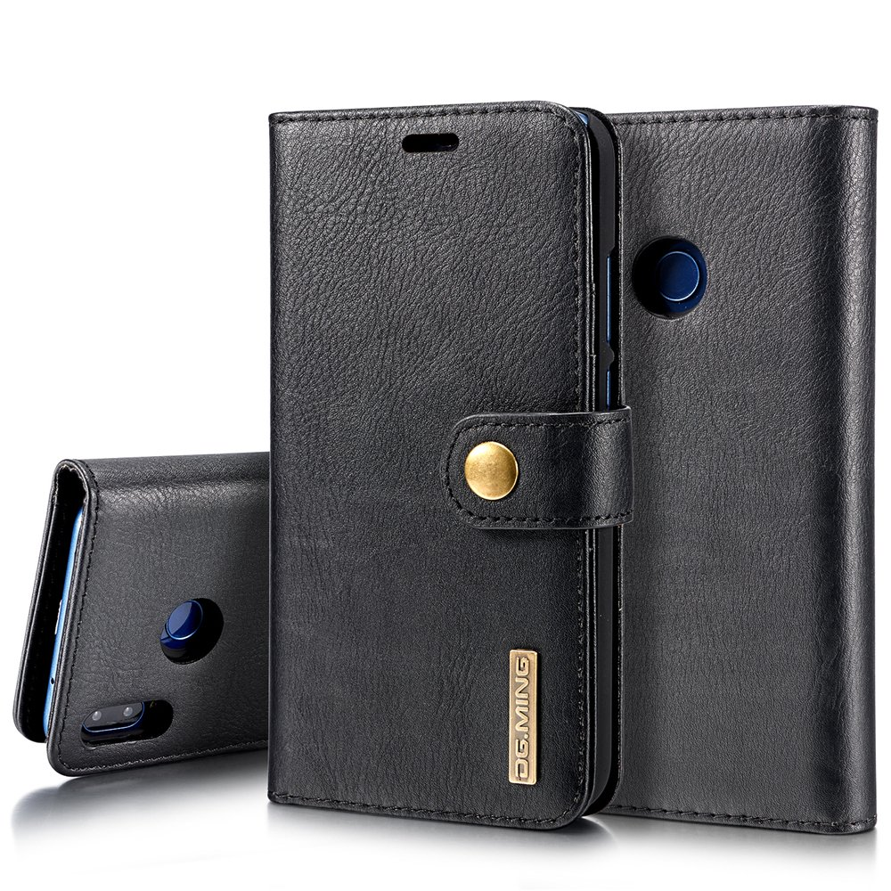 Scheam Flip Wallet Case Compatible with Huawei P20 Lite Pouch Shock Protection with Card Slots Lightweight Excellence and Adjustable Stand Black