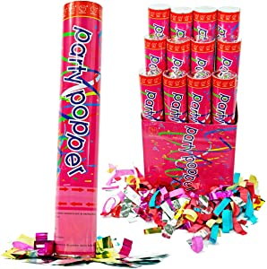 (6 Pack) Large (12 Inch) Confetti Cannons Air Compressed Party Poppers Indoor and Outdoor Safe Perfect For Any Party New Years Eve or Wedding Celebrations Shoot Streamers 10 ft