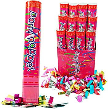 (12 Pack) Large (12 Inch) Confetti Cannons Air Compressed Party Poppers  Indoor and Outdoor Safe Perfect For Any Party New Years Eve or Wedding