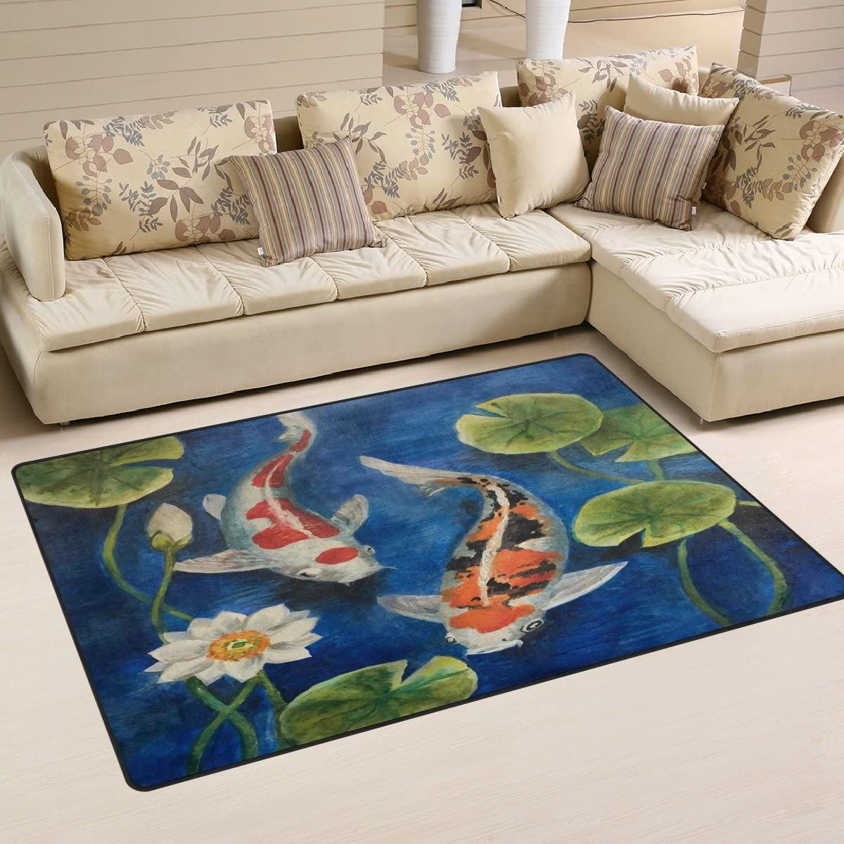 WOZO Colorful Koi Fish Pond Water Lily Area Rug Rugs Non-Slip Floor Mat Doormats Living Dining Room Bedroom Dorm 60 x 39 inches inches Home Decor