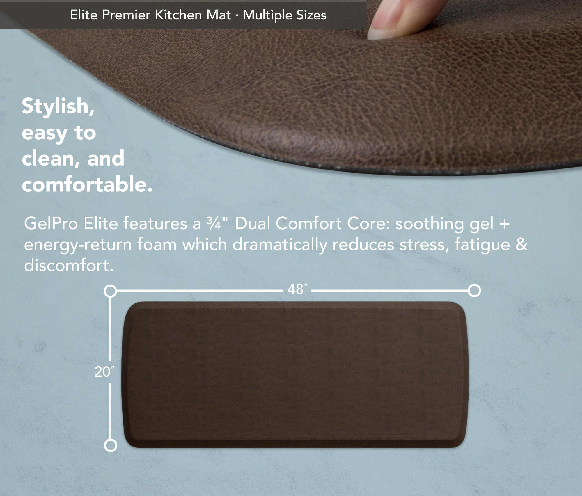 """GelPro Elite Premier Anti-Fatigue Kitchen Comfort Floor Mat, 20x48"""", Vintage Leather Rustic Brown Stain Resistant Surface with Therapeutic Gel and Energy-return Foam for Health and Wellness by GelPro (Image #3)"""