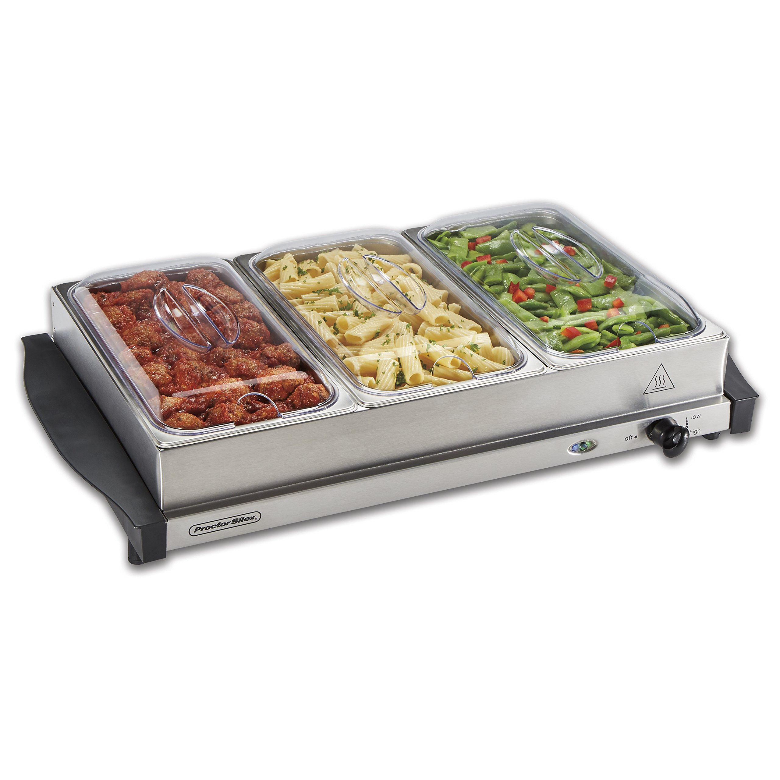 Proctor Silex 34300 Buffet Server & Food Warming Tray, Three 2.2 Quart Stainless Steel Chafing Dishes, Adjustable Heat by Proctor Silex