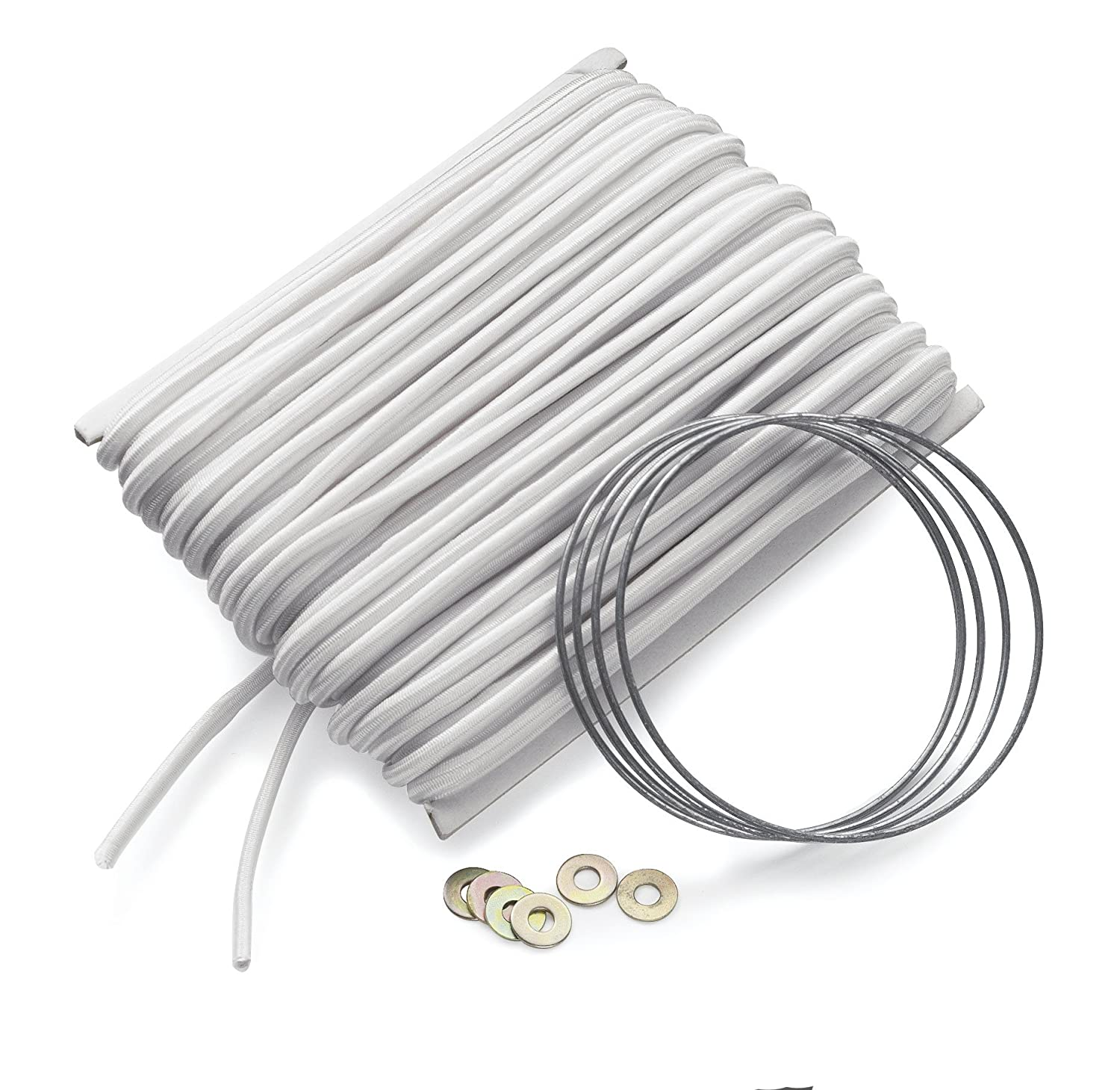 45ft Shock-Cord Installation Wire /& Washer Repair Kit For Fiberglass Tent Poles