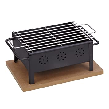 Sauvic 02905 - Barbacoa sobremesa, con Parrilla Inoxidable, 18/8, 25 x 20 cm: Amazon.es: Jardín