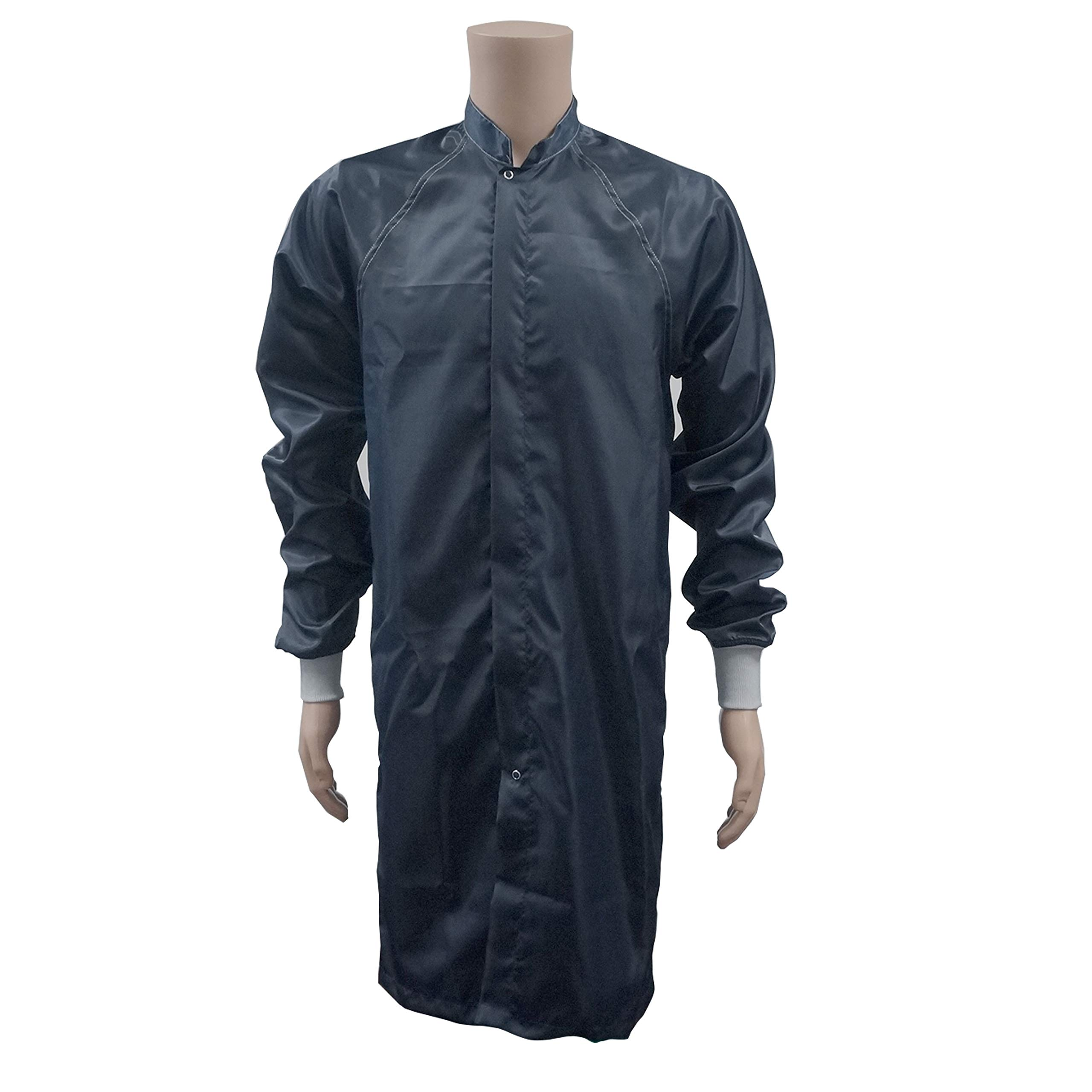 ESD Clean Room Frocks - Polyester W/Knit Cuffs, Meet Up To Class 100 Clean Room - Navy Blue - Extra Large