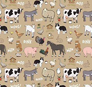 Farm Animal Wrapping Paper Cow Gift Wrap - Folded Flat 30 x 20 Inch - 3 Sheets