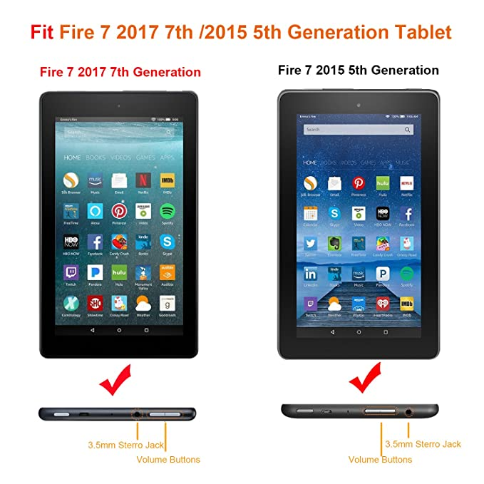 Famavala Fire 7 Tablet, Case, Cover, for [5th Generation 2015 / 7th  Generation 2017] (GalaP)