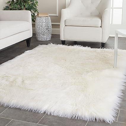 OFLBA White Fux Sheepskin Rug Fur Blanket Area Shag Rug (9\'X12\')