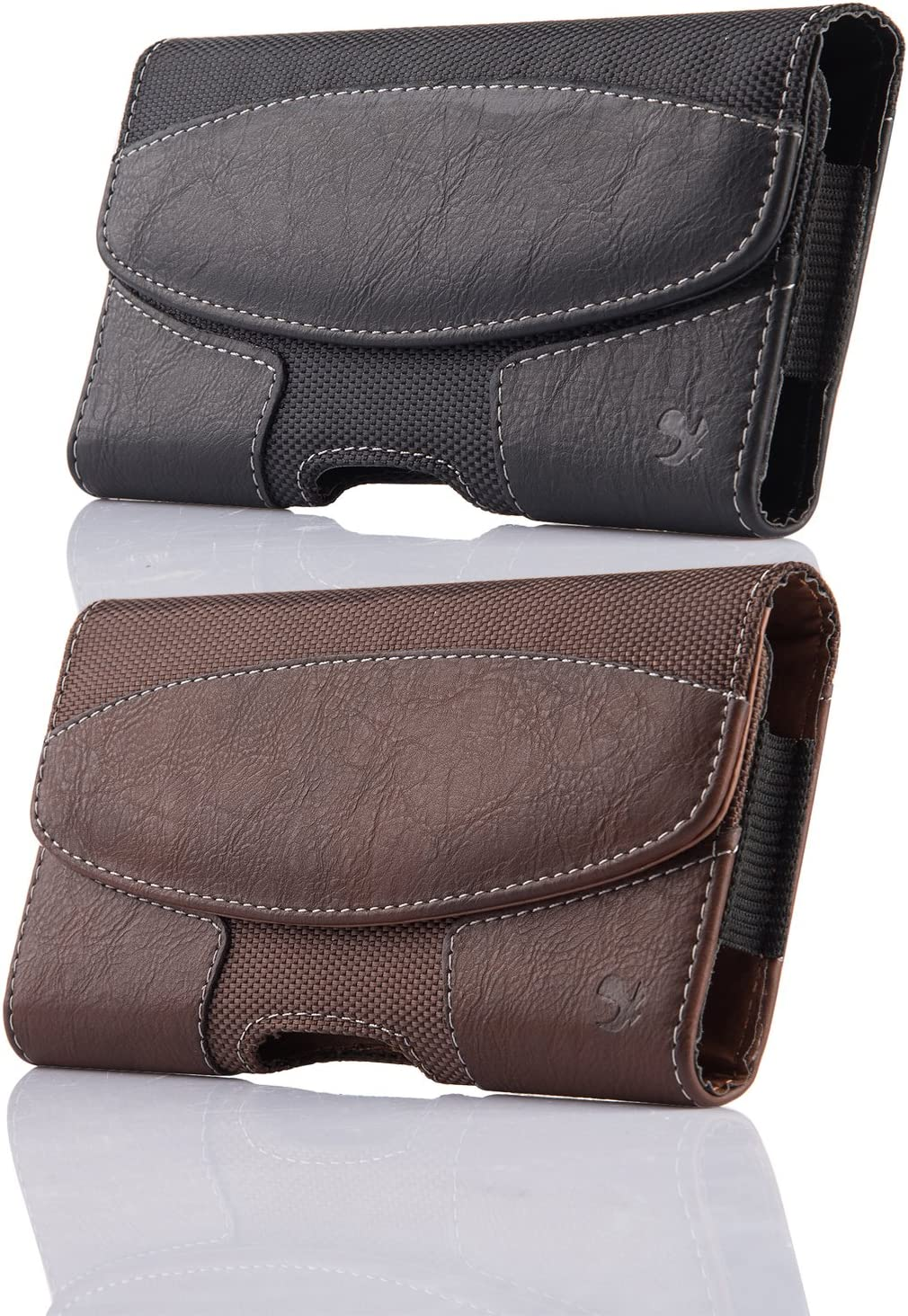 2 Pack Holster Pouch Case for iPhone XR iPhone 11 Pro Max , kiwitatá Horizontal Leather Belt Clip/ Loops Case Pouch [Magnetic Closure] for iPhone Xs Max iPhone 7 Plus 8 Plus (Black/Brown)
