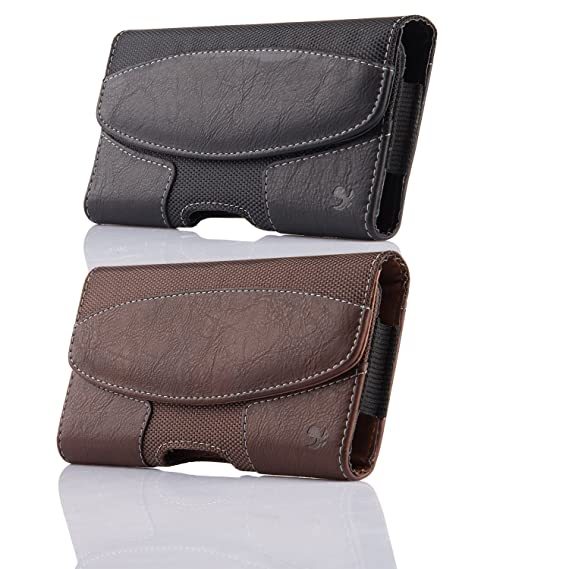 huge discount f2220 2437a 2 Pack iPhone 8 Plus Holster Pouch Case, kiwitatá Horizontal Leather Belt  Clip/Loops Case Pouch [Magnetic Closure] for iPhone Xs Max iPhone 7 Plus 6S  ...
