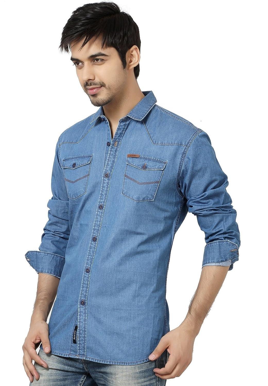 cf41d06188 LA Seven Blue Color Solid Denim Slim Fit Double Pocket Casual Shirts   Amazon.in  Clothing   Accessories