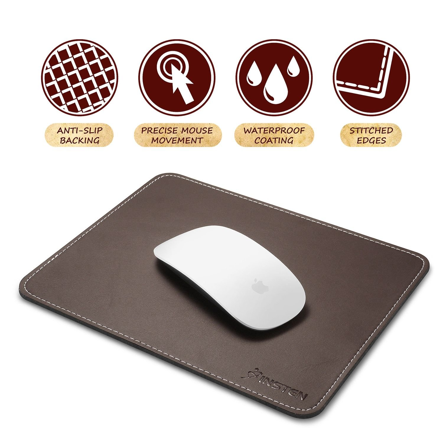 Insten Premium Leather Mouse Pad with Waterproof Coating, Non Slip & Elegant Stitched Edges, Brown eForCity 2208904