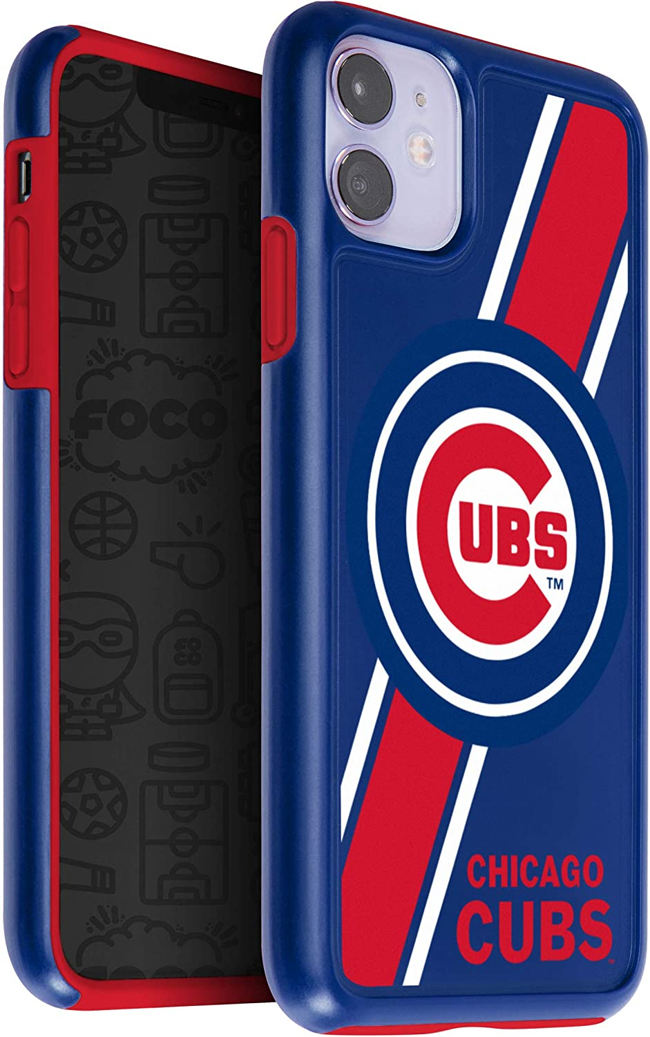 One Size Team Color FOCO MLB Chicago Cubs Unisex iPhone 11 6.1 Inch/ Screen Only /Dual Layered Impact Licensed Case