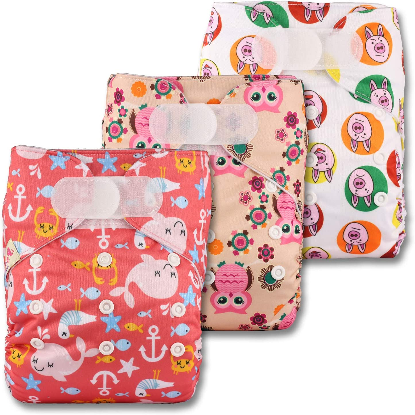Reusable Pocket Cloth Nappy Set of 3 with 6 Microfibre Inserts Littles /& Bloomz Fastener: Hook-Loop Patterns 304