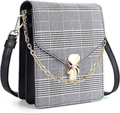 Women Girls Handbag CHECK PATTERN DESIGN Shoulder Crossbody Messenger Buckle Bag