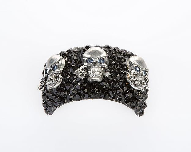 Amazon.com  Funky Black Skull Ponytail Holder with Light Blue ... ddf4a5b6168