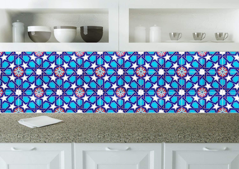 Cerames Mazhar Lot de 4 dalles murales turques color/ées en c/éramique Iznik 20 x 20 cm Id/éal pour la cuisine ou la salle de bain