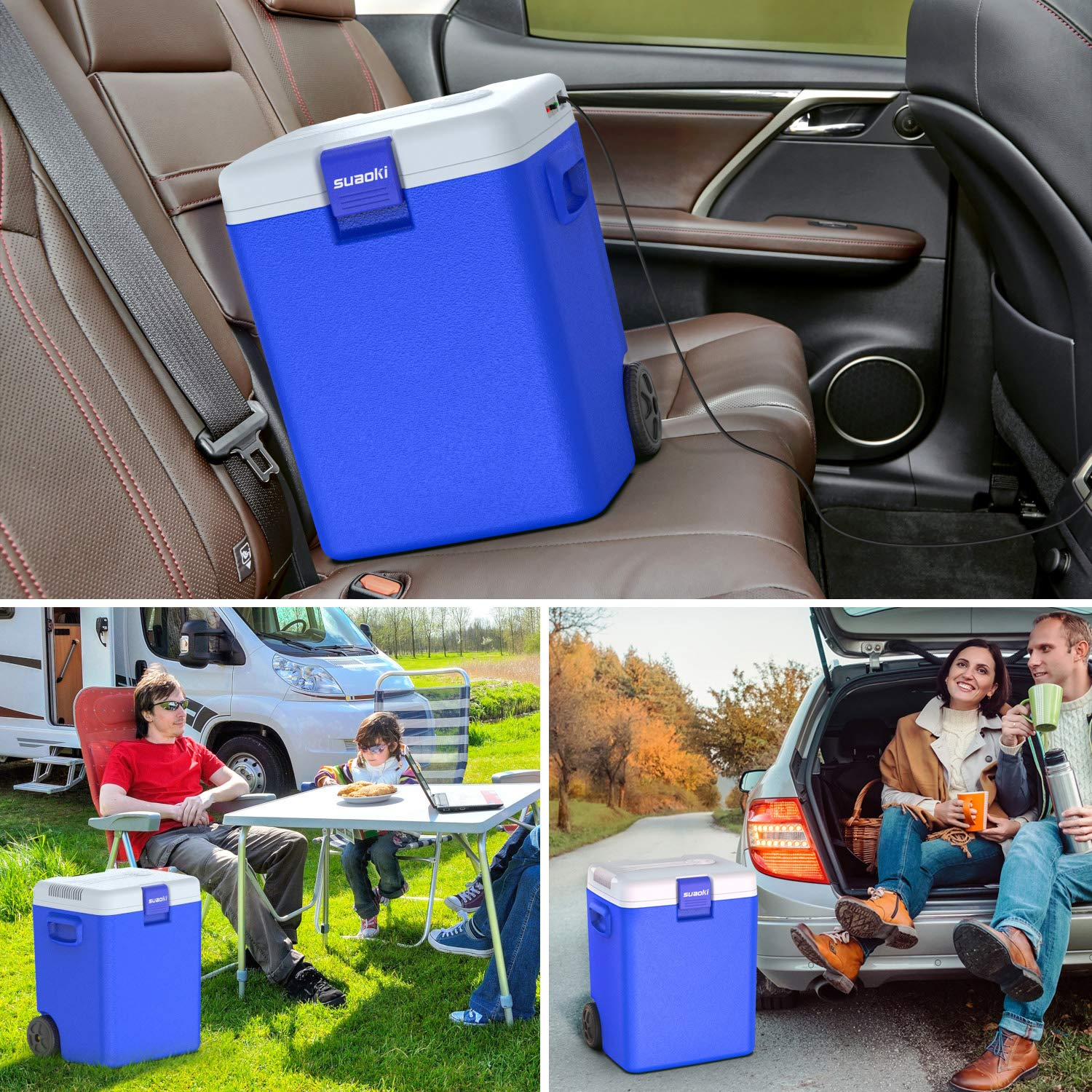 12V DC Blue SUAOKI 32 Quart //30L Portable Car Fridge Electric Freezer and Warmer Thermoelectric System with Wheels and Handle for Car Dorm Travel Camping Picnic Outdoor Party