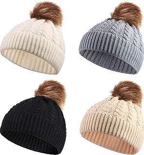 4 Pièces Chapeau Tricoté de Bébé Casquette Bonnet Chaud d'hiver Bonnet Tricoté de Bébé Garçons Filles Chapeau de Pompons