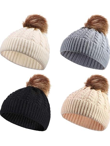 Zhanmai 4 Pezzi Cappello a Maglia per Bambini Berretto Cappellino Invernale  Caldo per Bambini Ragazzi Ragazze 12fedeaa4891