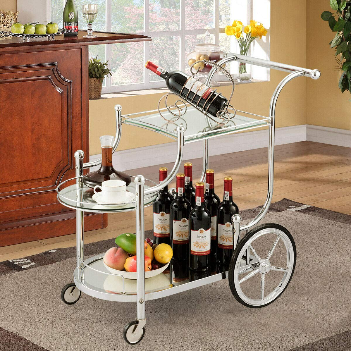 Tangkula Rolling Bar Cart, Metal Serving Cart with Tempered Glass, 3-Tier Glass Bar and Serving Cart, Tea Serving Bar Cart with 4 Wheels (Silver) by Tangkula
