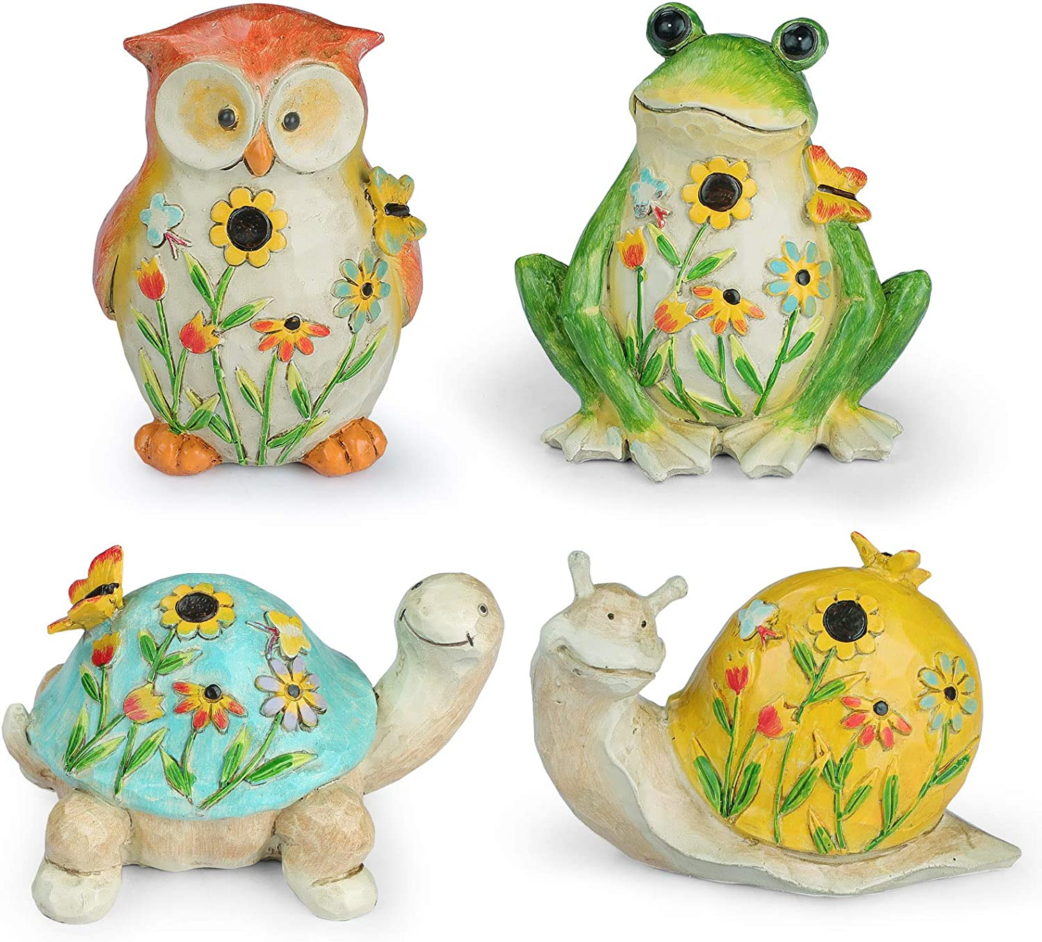 Garden Animal Figurines with Flower and Butterfly Decorations Set of 4, Frog, Owl, Turtle & Snail Garden Statues, Resin Outdoor Spring Décor and Home Décor, 4.625