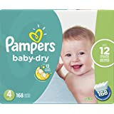 Pampers Baby Dry Disposable Diapers Size 4, Economy Pack Plus, 168 Count