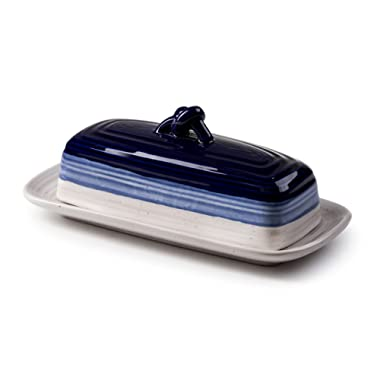ROSCHER Ceramic Butter Dish (Avalon Blue) 2-Piece Cover and Plate Combo Rustic, Vintage Kitchen Décor Decorative, Country Style Look Counter, Refrigerator, Table