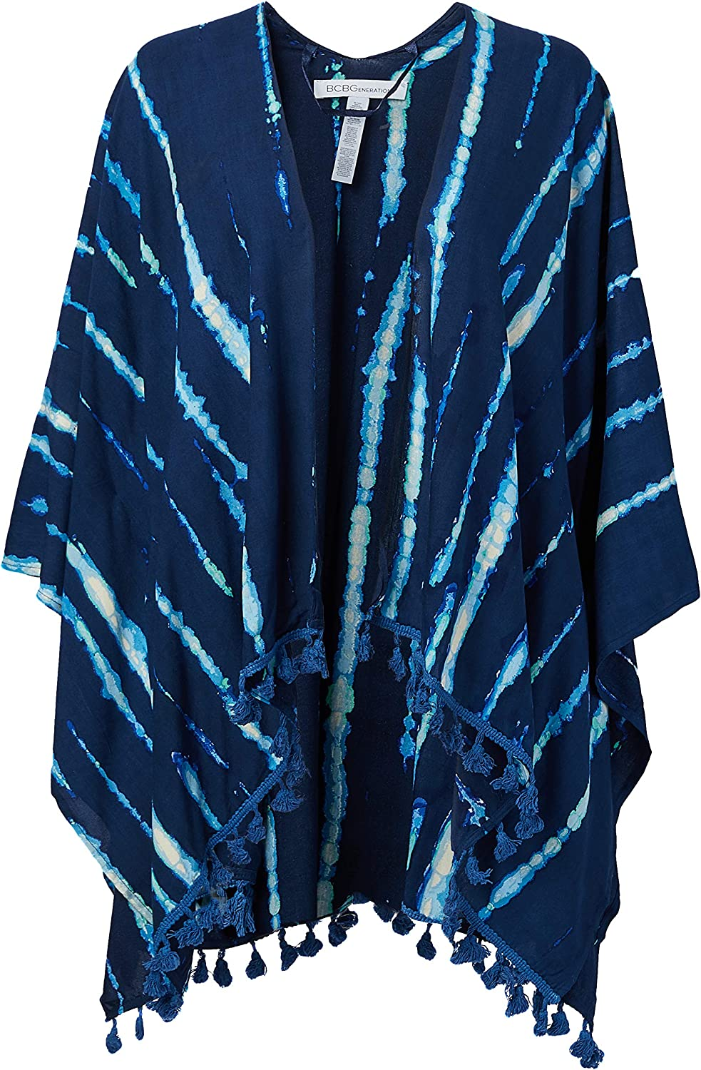 BCBGeneration Women's Tie Dye Tassel Topper, Blue, One Size