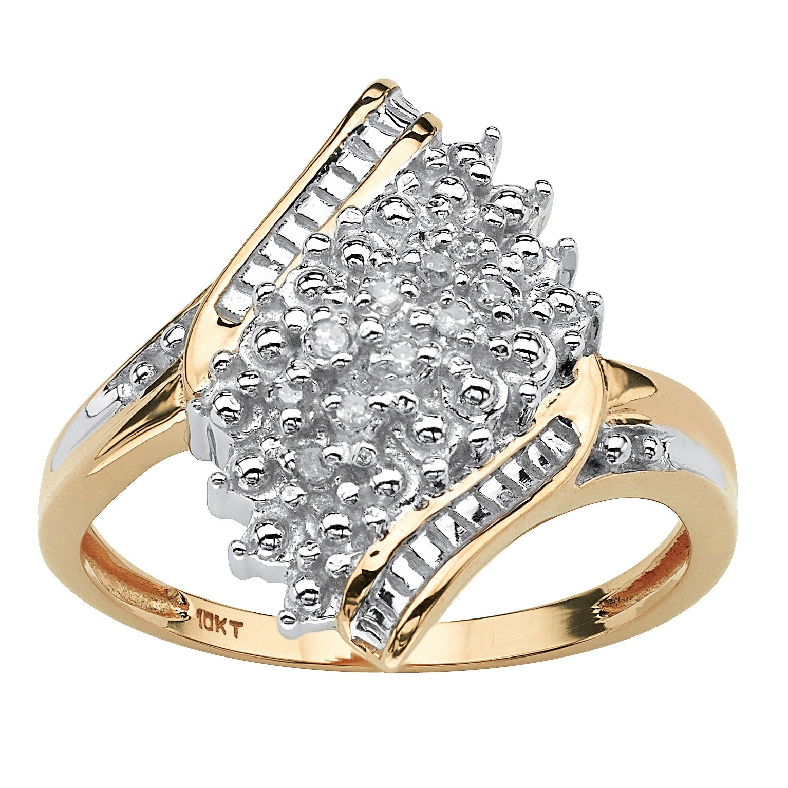 Solid 10K Yellow Gold Diamond Accent Bypass Cluster Ring by Seta Jewelry