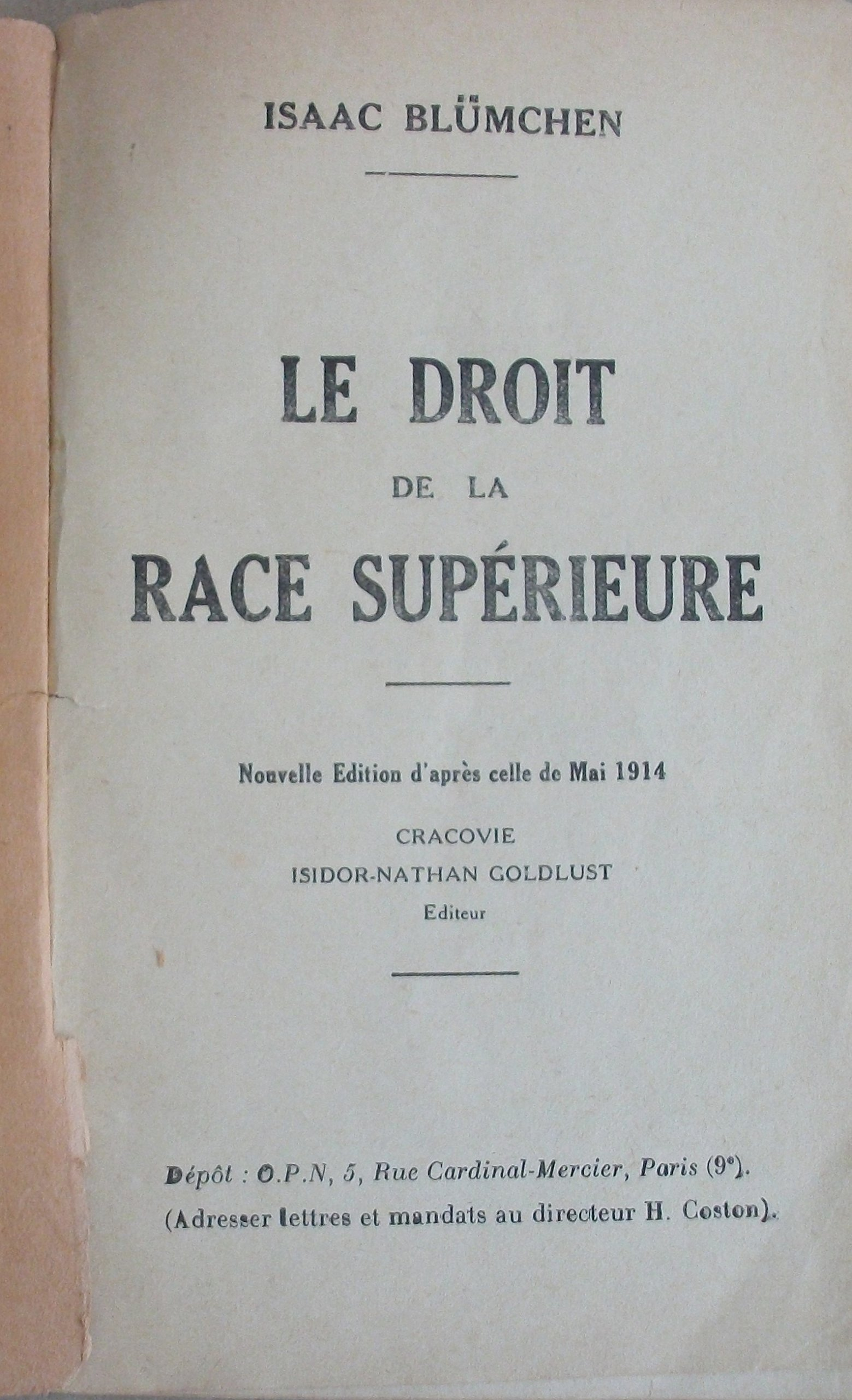 """Résultat de recherche d'images pour """"LE DROIT DE la Race Supérieure"""""""