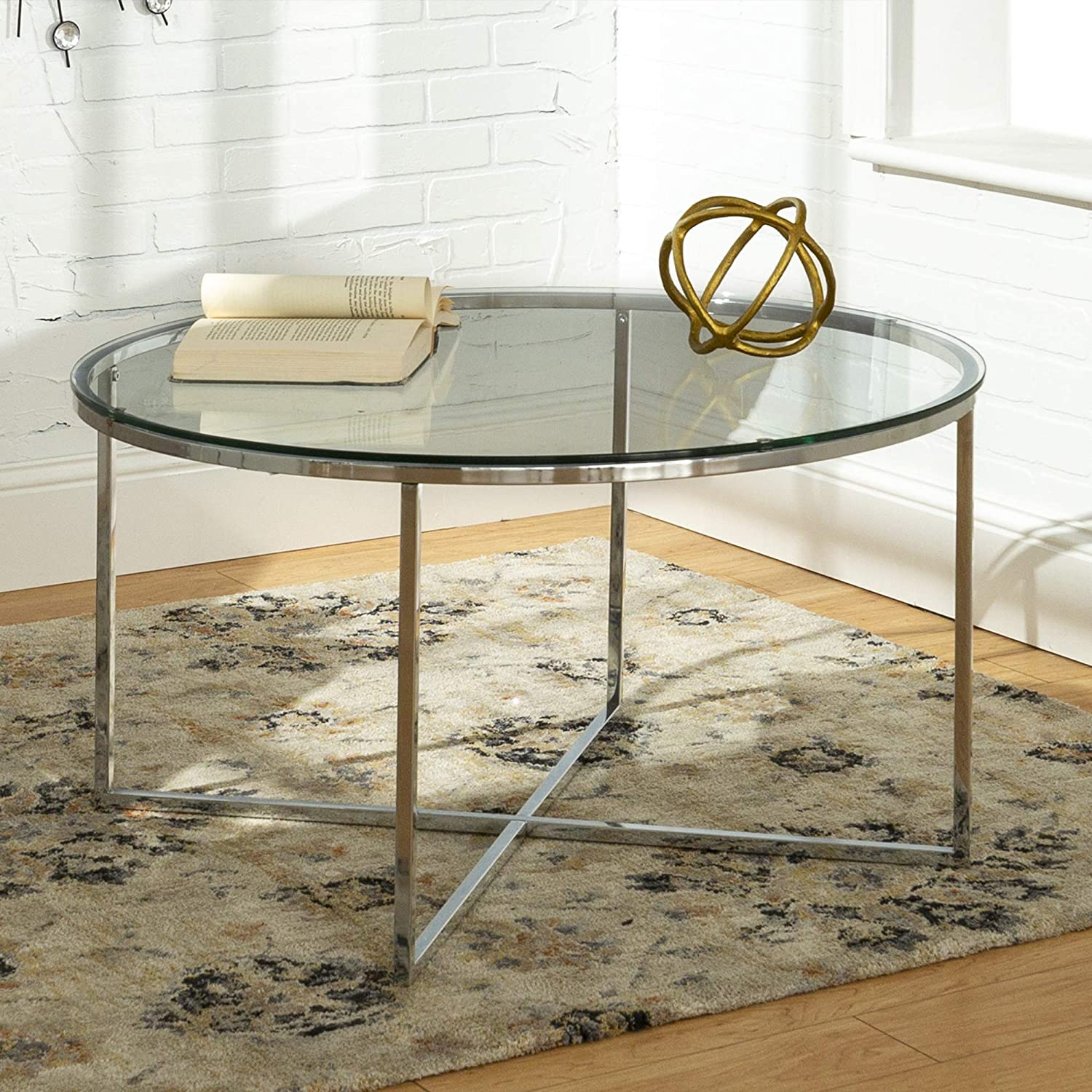 Walker Edison Modern Round Coffee Accent Table Living Room, Glass/Chrome