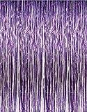 2 X 3' x 8' Purple Tinsel Foil Fringe Backdrop Door Window Curtain Party Decoration