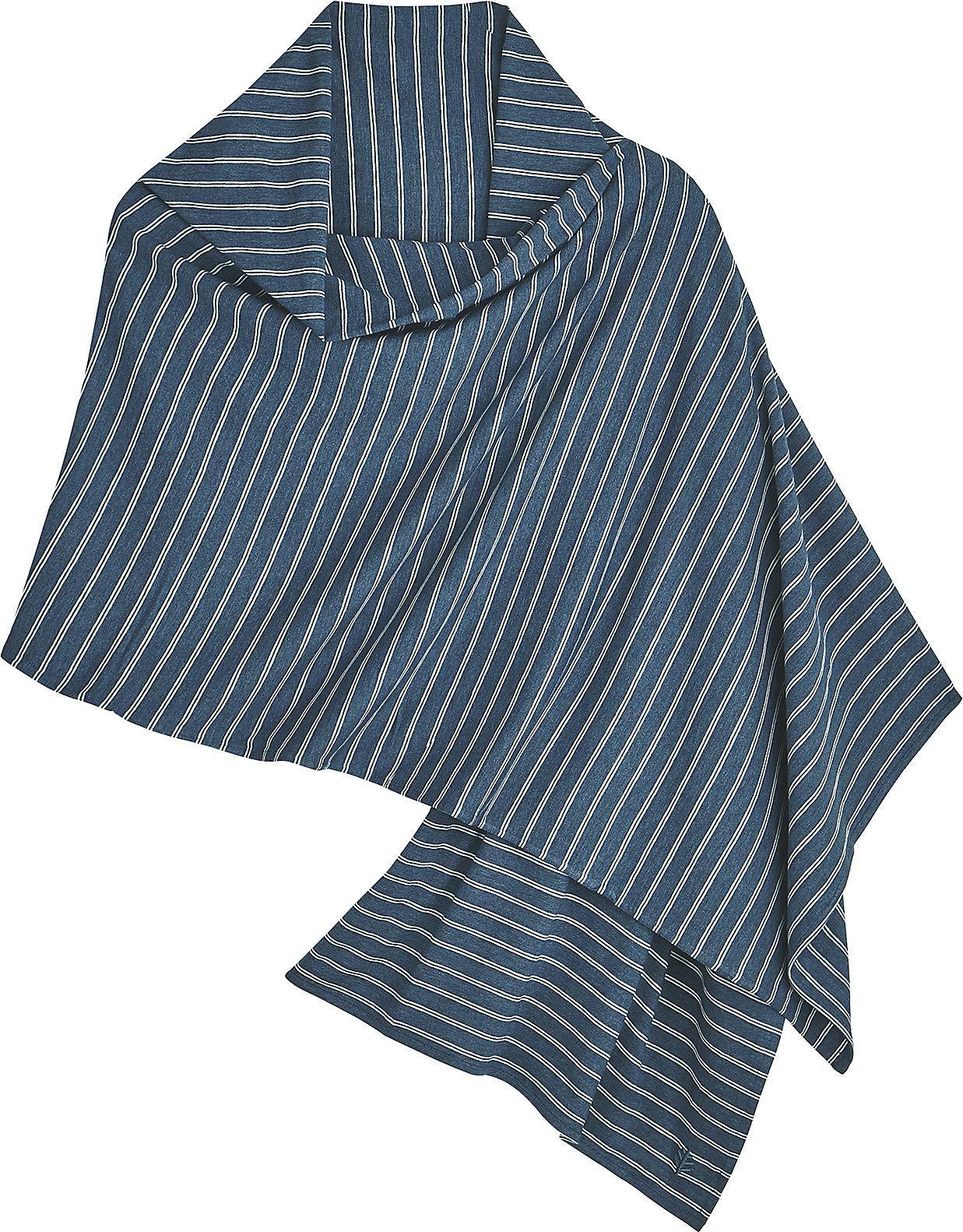 Coolibar UPF 50+ Women's Everyday Beach Shawl - Sun Protective (One Size- Denim Blue Heather/Double White Stripe)