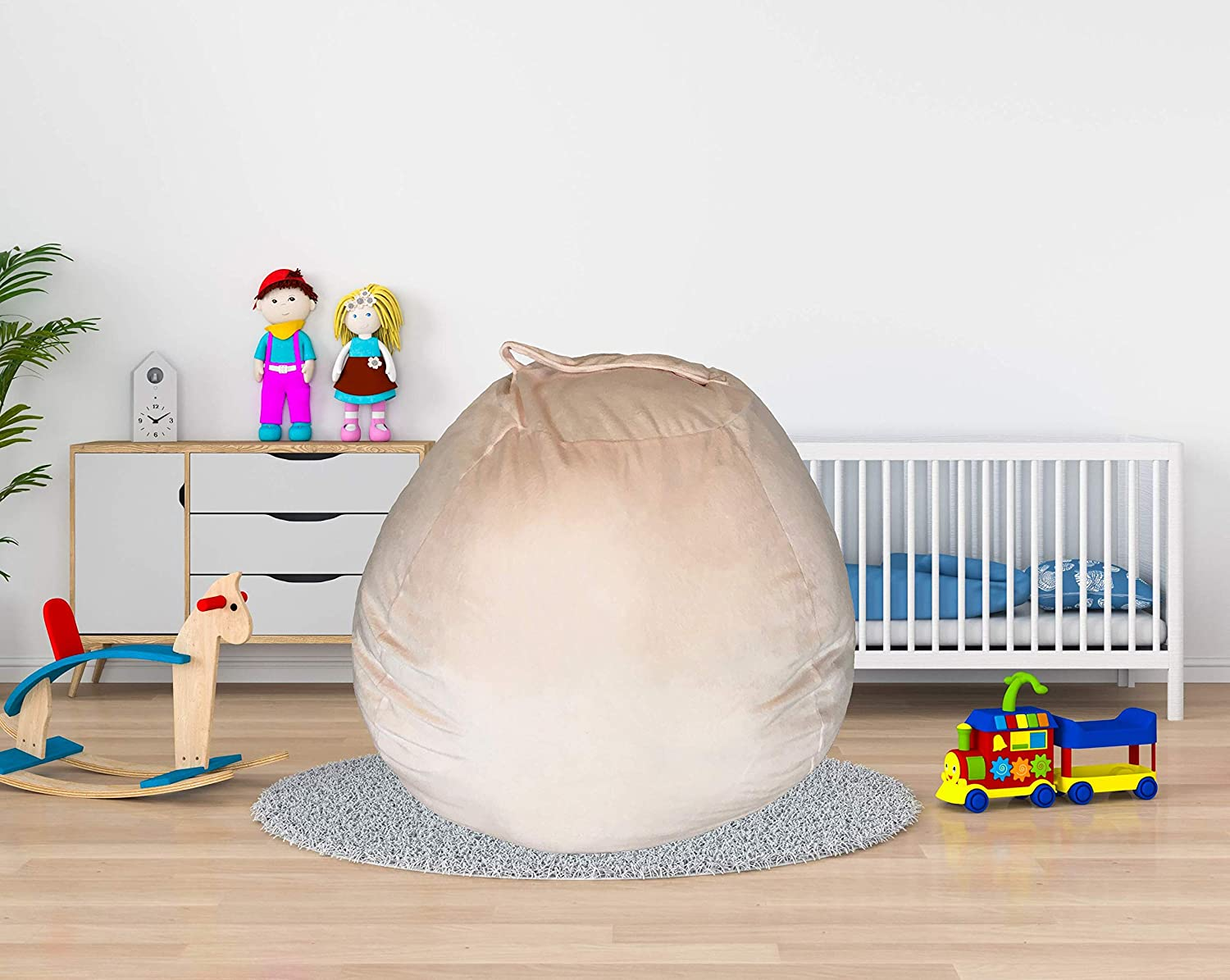 Cover Only Large Size Premium Plush Toy Hammock BeanBag For Toy Storage Blanket Storage Pillow Storage Peach Stuffed Animal Storage Bean Bag Chair for Kids 38 Inch Extra Soft Velvet 2Colors