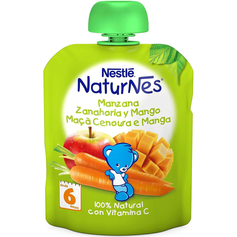 NESTLÉ Bolsita de puré de frutas, variedad Manzana Zanahoria y Mango, para bebés a partir de 6 meses - Paquete de 16 bolsitas x 90 g: Amazon.es: ...