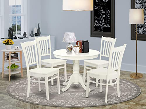 East West Furniture ANGR5-LWH-W Modern Dining Table Set