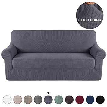 Turquoize Grey Sofa Slipcover Stretch High Spandex Sofa Cover/Lounge  Covers/Couch Covers Furniture Covers for 3 Seater Cushion Cover Stretch,  2-Piece ...