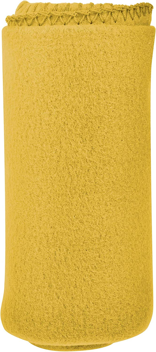 """Micro World 50""""x 60"""" Ultra Soft Fleece Throw Blanket - Perfect Blanket for Pets, Family, and Friends - Charitable Compact Blanket - 100% Machine Washable Polyester Fleece Throw (Yellow)"""