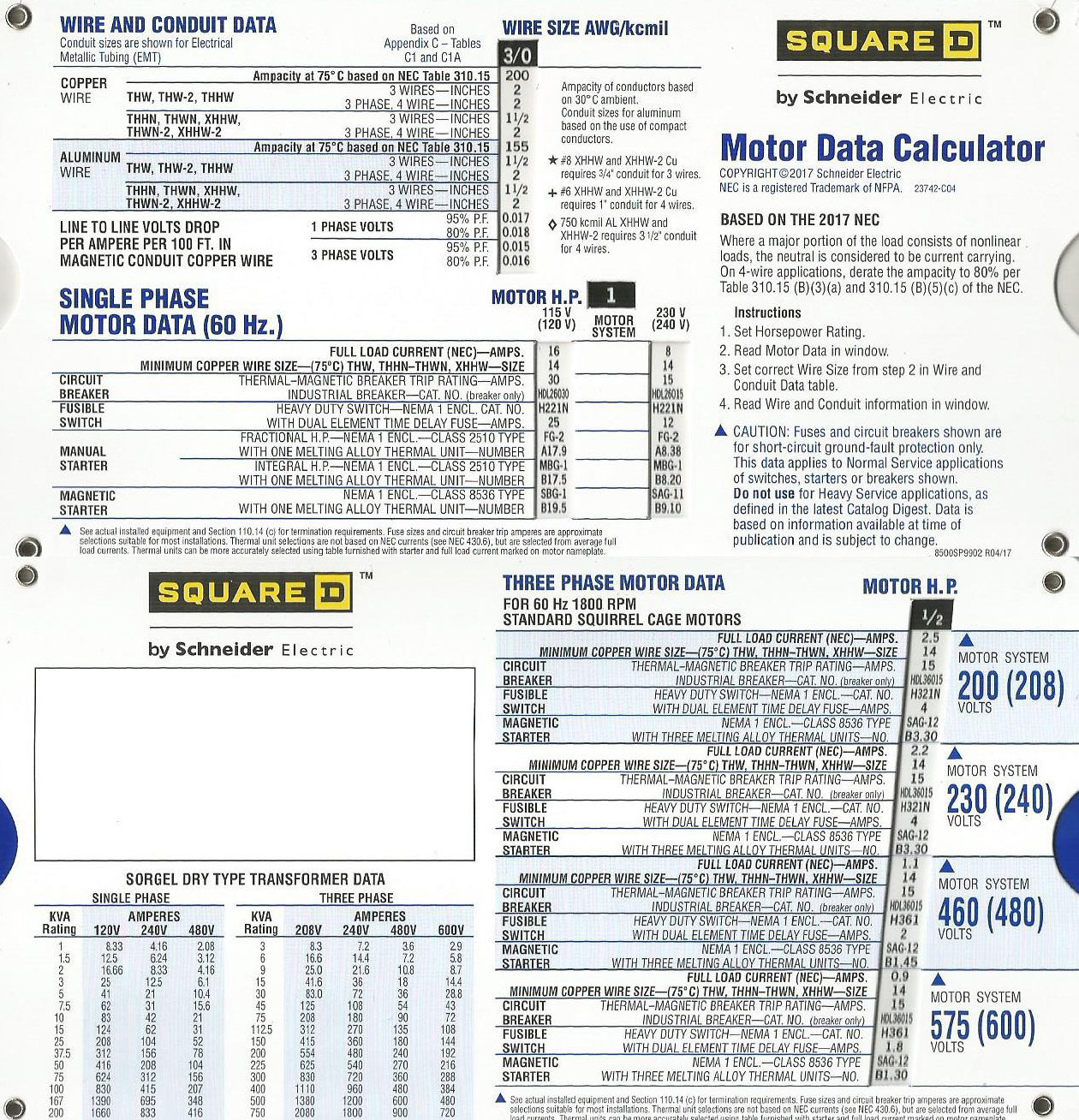 Motor Data Slide Chart - - Amazon.com