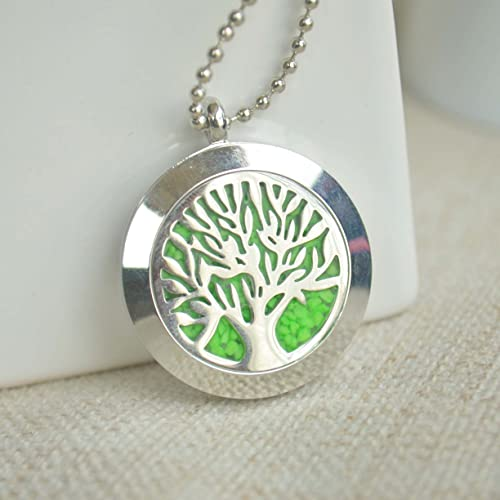 Kábala Árbol de la vida Verde Brillan en la oscuridad Flotante Medallón Acero inoxidable Largo Collar 80cm Longitud Cadena