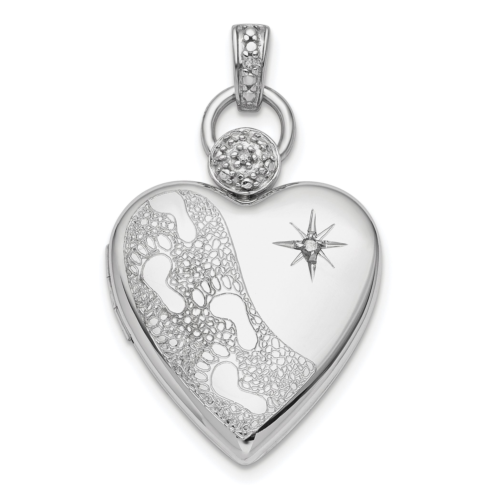 ICE CARATS 925 Sterling Silver Plate 21mm Diamond Accent Footprint Photo Pendant Charm Locket Chain Necklace That Holds Pictures Fine Jewelry Gift Set For Women Heart