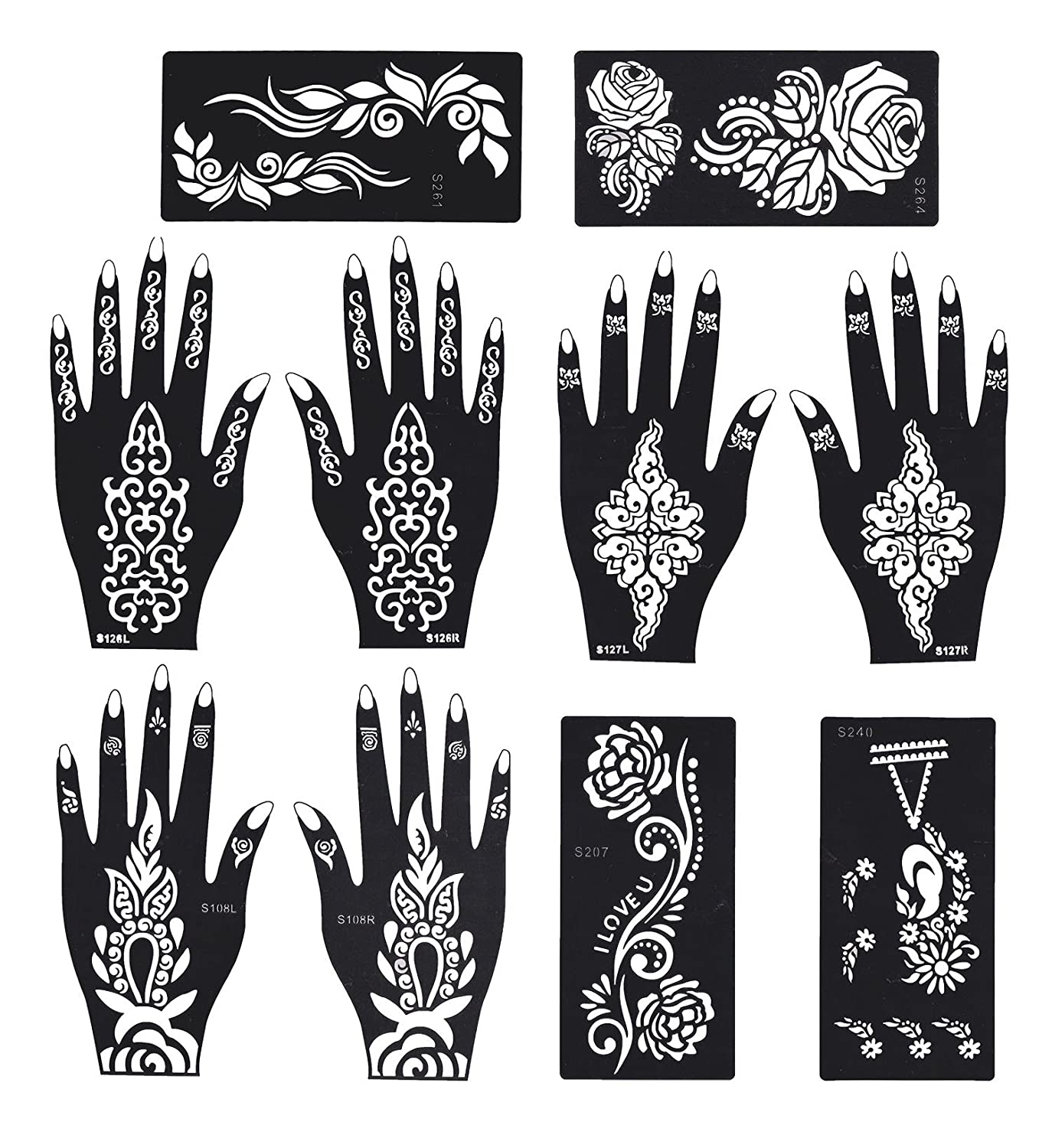 Henna Tattoo Stencil/Temporary Tattoo Temples Set of 8 Sheets, Indian Arabian Tattoo Reusable Stickers Stencils Body Art Designs for Hands Bbei